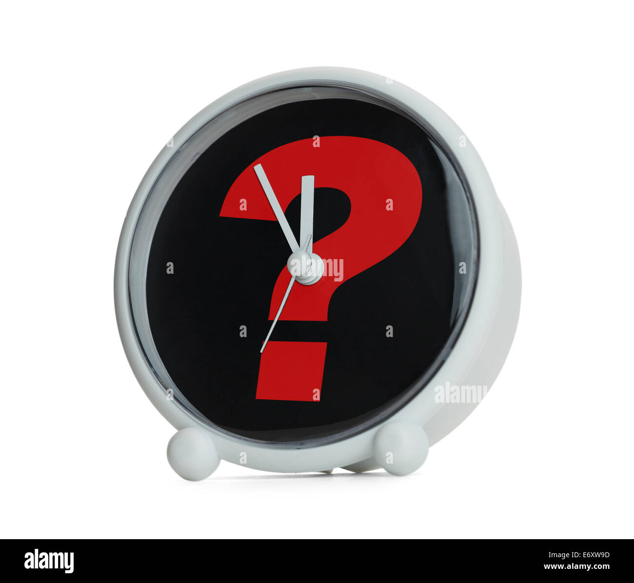 Clock with Question Mark in Red Isolated on White Background. Stock Photo
