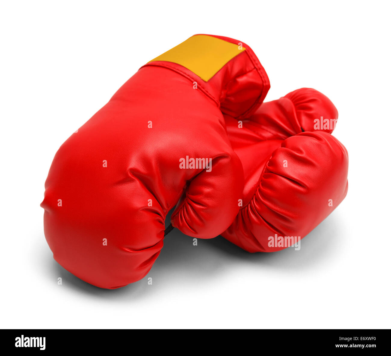 Pair of Boxing Gloves Resting Isolated on White Background. - Stock Image