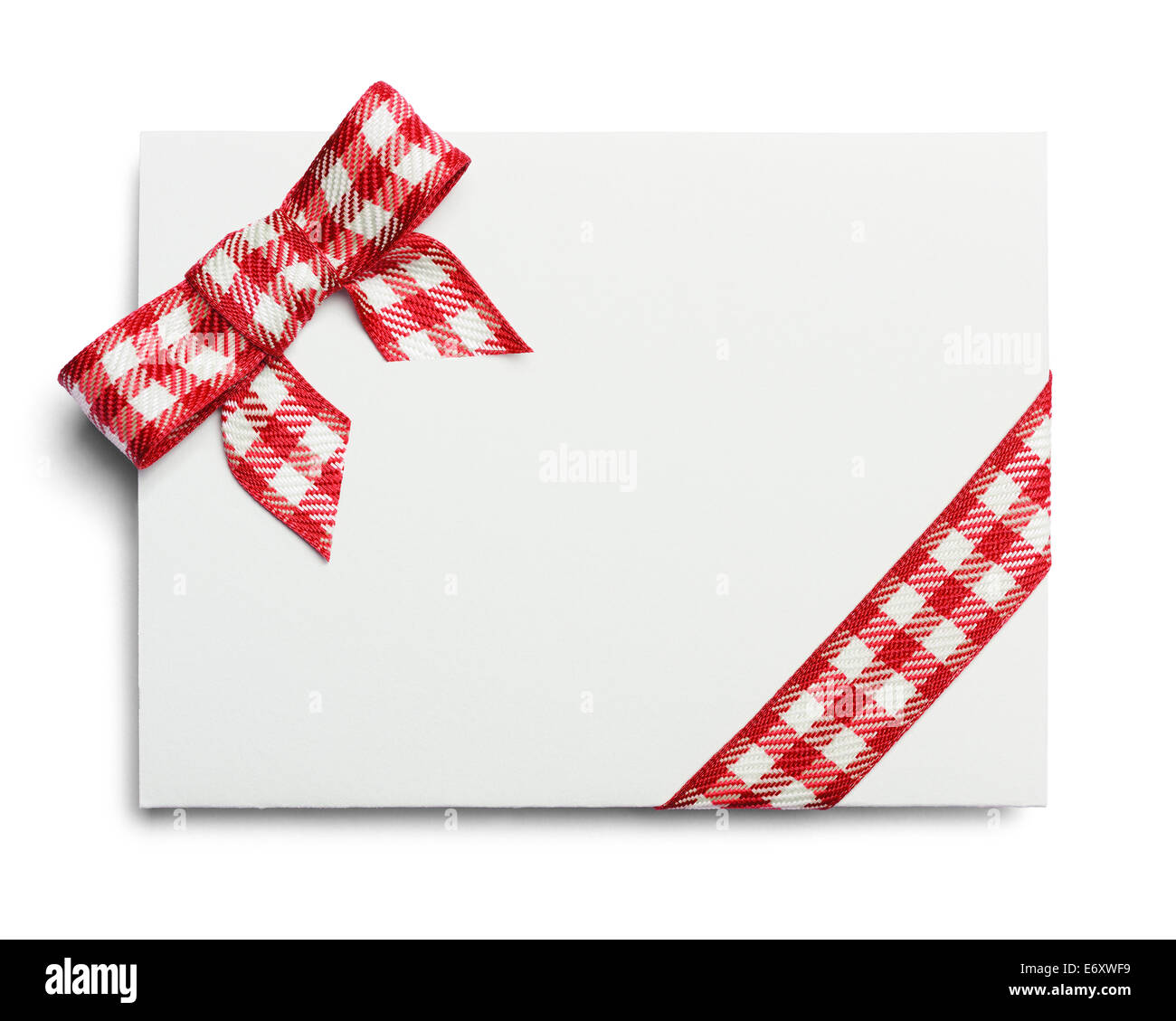 Blank Invitation with Copy Space and Ribbon Isolated on White Background. - Stock Image