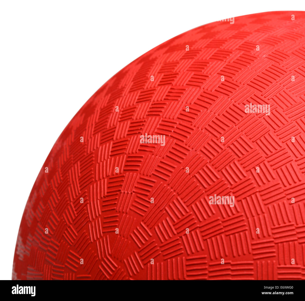 Close up Section of Red Dodge Ball Isolated on White Background. - Stock Image