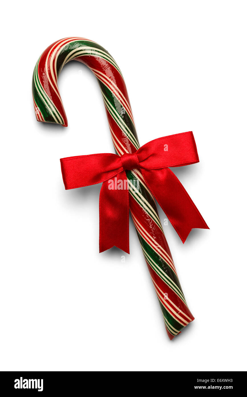 Candy Cane with Red, Green and White Stripes and Red Bow Isolated on White Background. - Stock Image