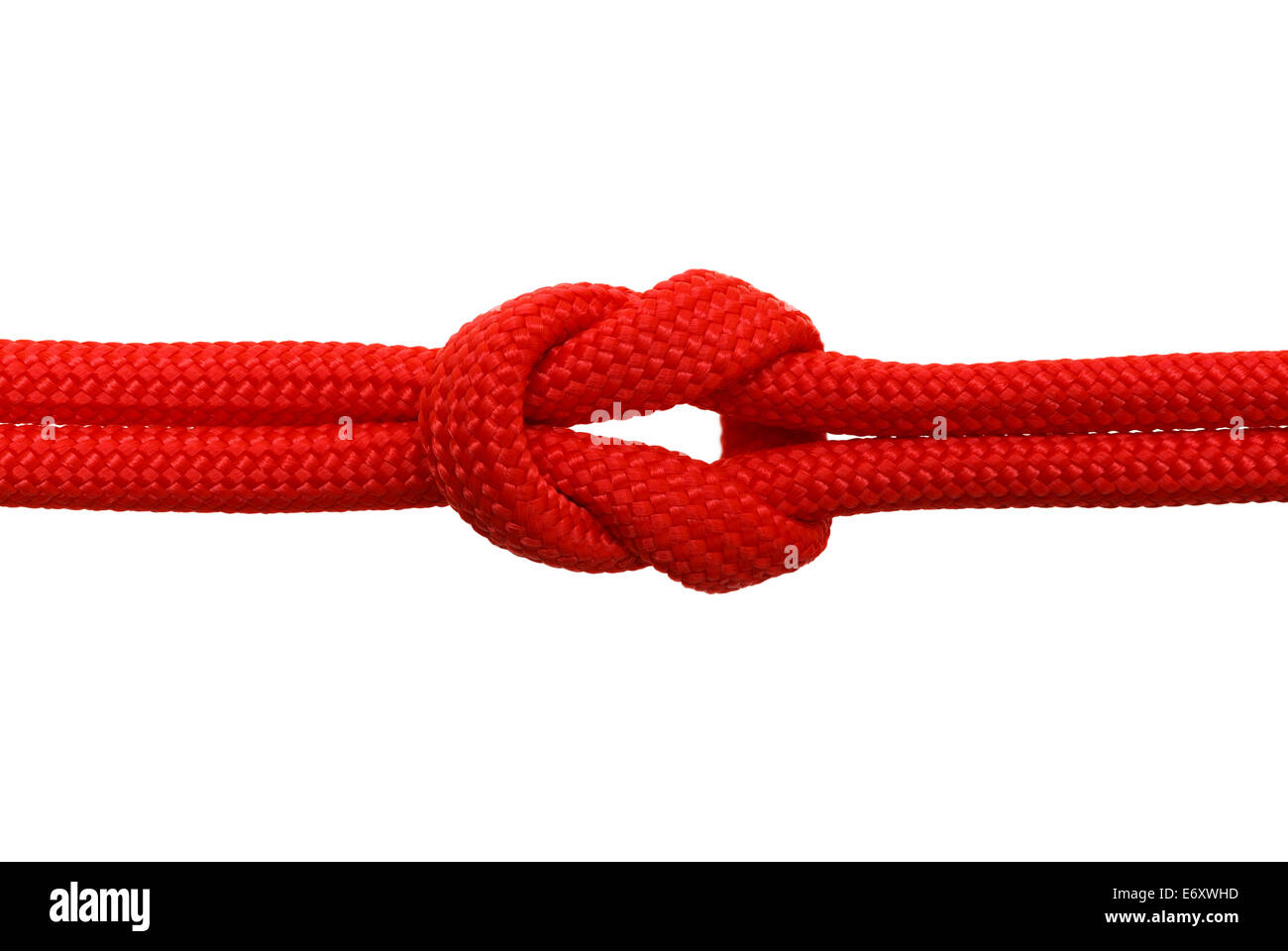Red Rope in A Knot Isolated on White Background. - Stock Image