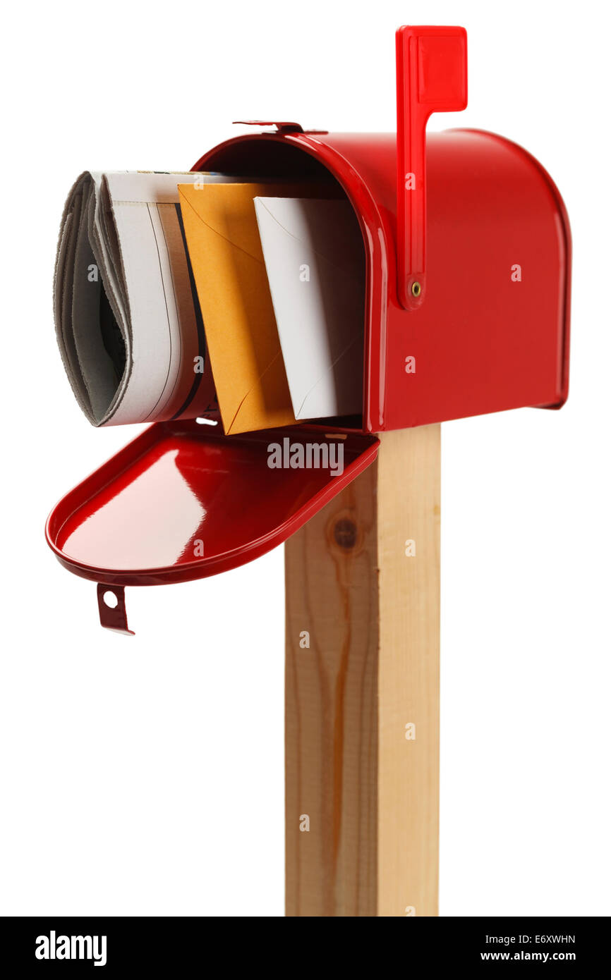 Mailbox with Letters and  Newspaper Isolated on White Background. - Stock Image