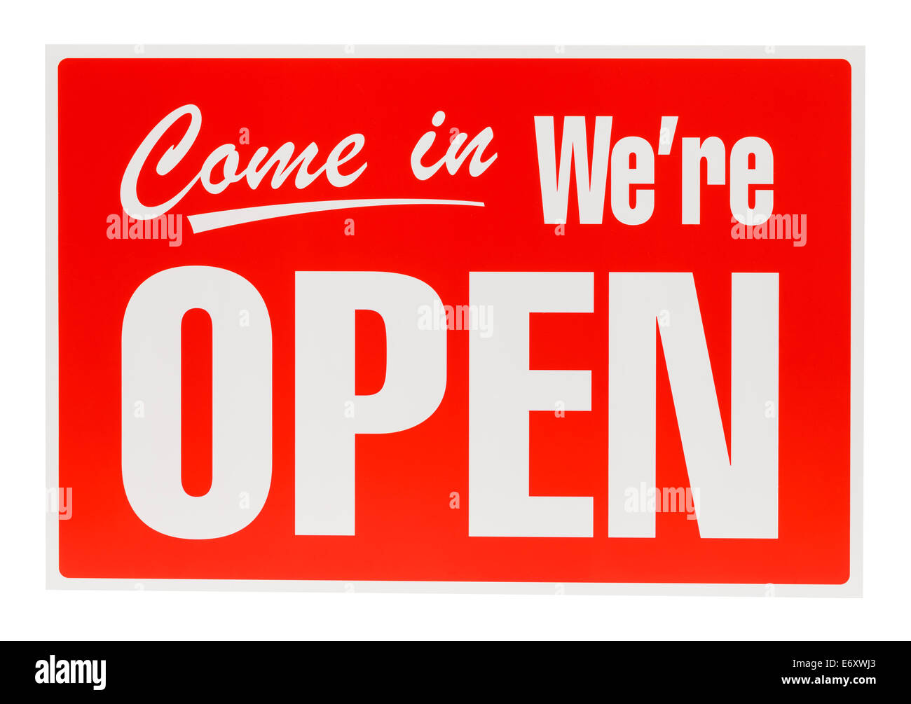 PLastic Open Sign Isolated on White Background. - Stock Image