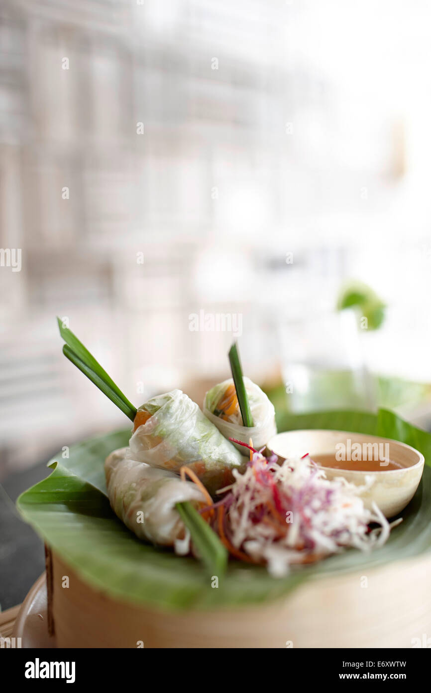Fresh springrolls in rice paper, Dat Doc Beach, Con Dao Island, Con Dao National Park, Ba Ria-Vung Tau Province, - Stock Image