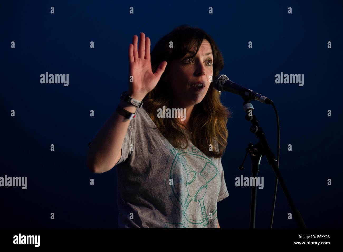 Comedian BRIDGET CHRISTIE performing at the 2014 Gwyl Llenyddiaeth DINFEWR Literature Festival , Llandeilo Wales - Stock Image