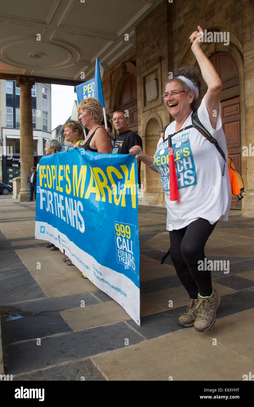 Northampton, UK. 1st Sept, 2014. NHS Protest march by group of 11 mums from Darlington reach Northampton Town Centre, - Stock Image