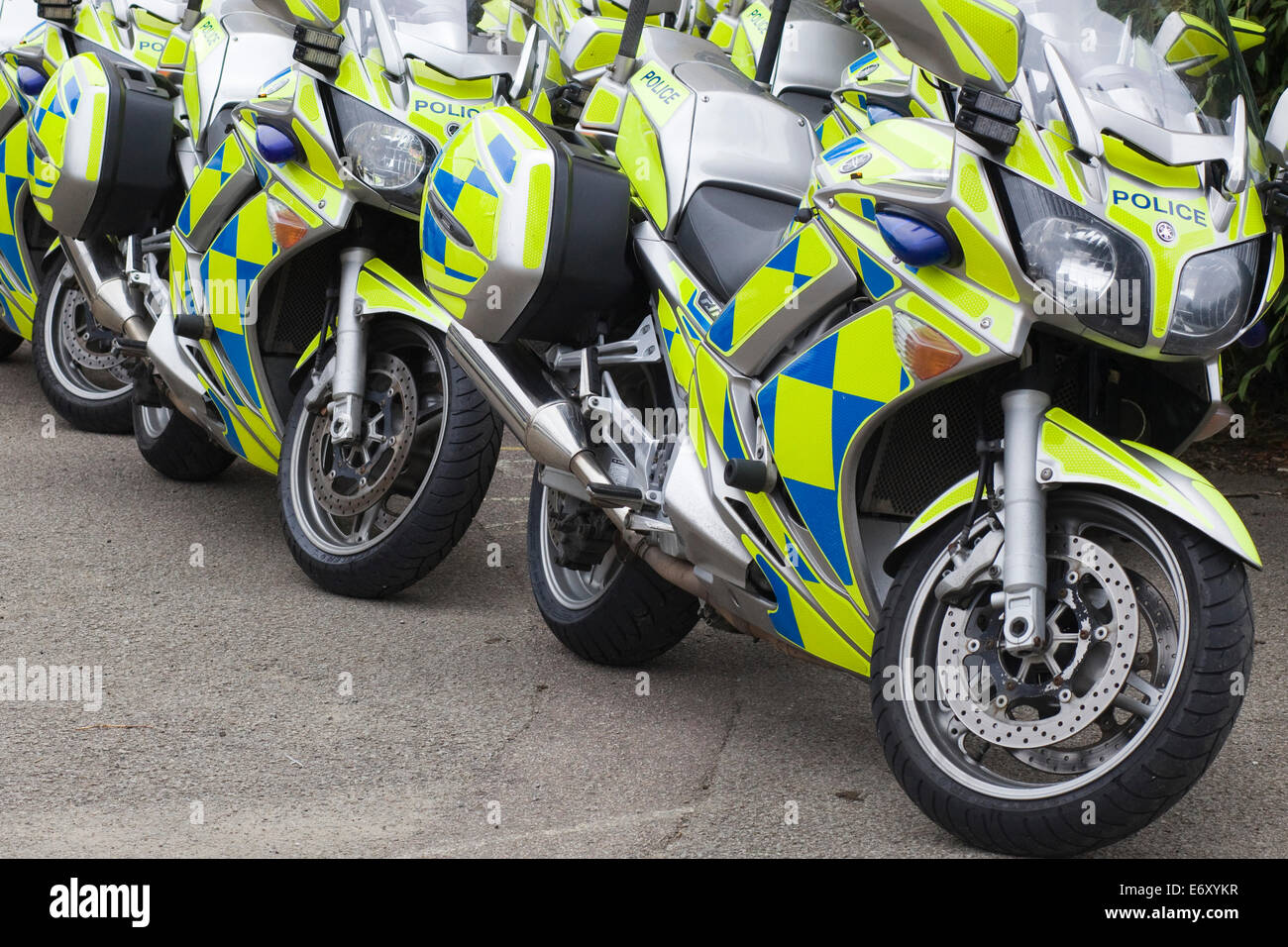 Police Patrol Motorcycles with Battenburg  Reflective markings - Stock Image