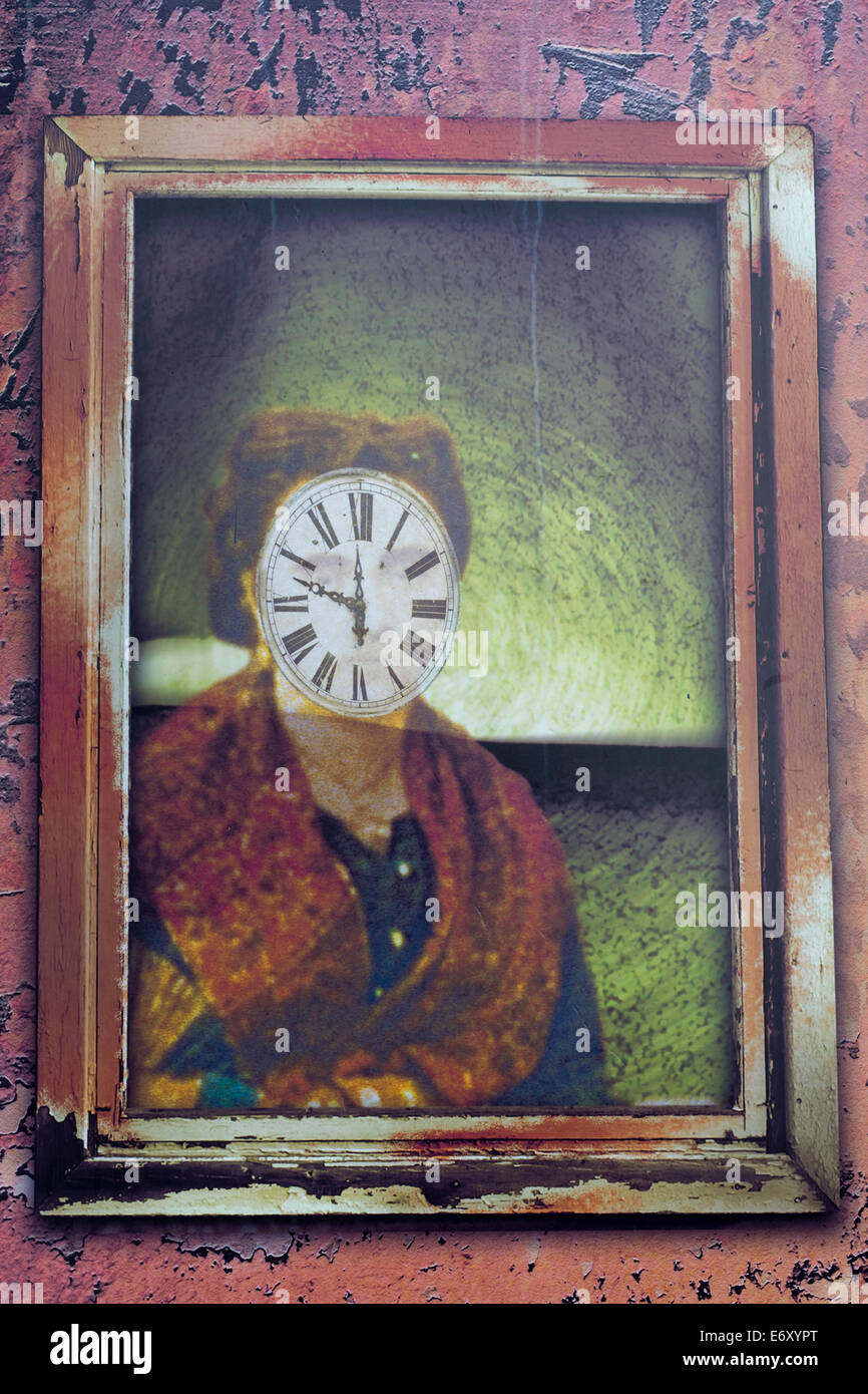 Poster of a face clock strange Art - Stock Image