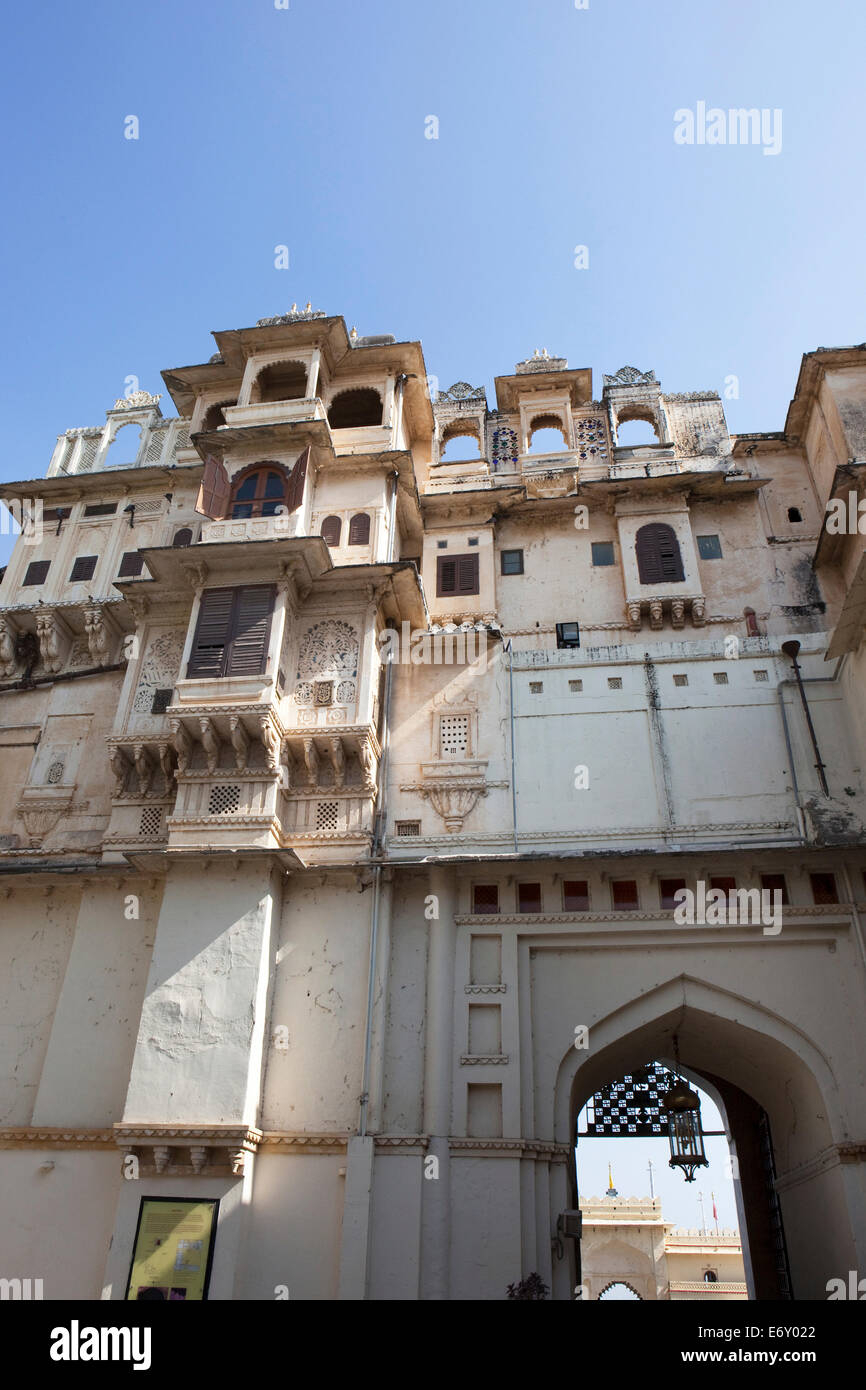 Facade of the City Palace, Udaipur, Rajasthan, India - Stock Image