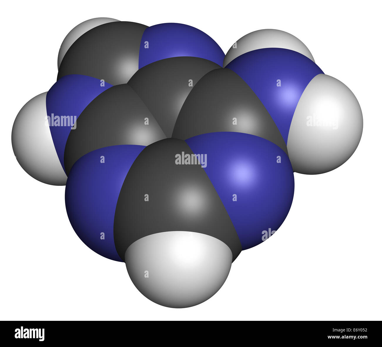 Adenine (A, Adenine) purine nucleobase molecule. Base present in DNA and RNA. Atoms are represented as spheres with - Stock Image