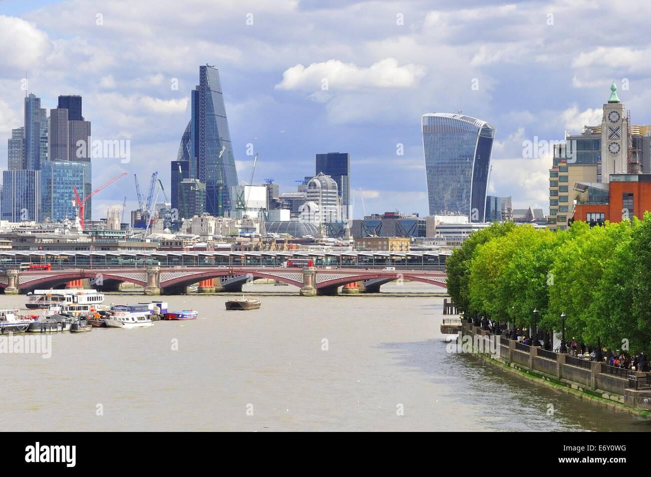London skyline looking East from Waterloo Bridge. Stock Photo