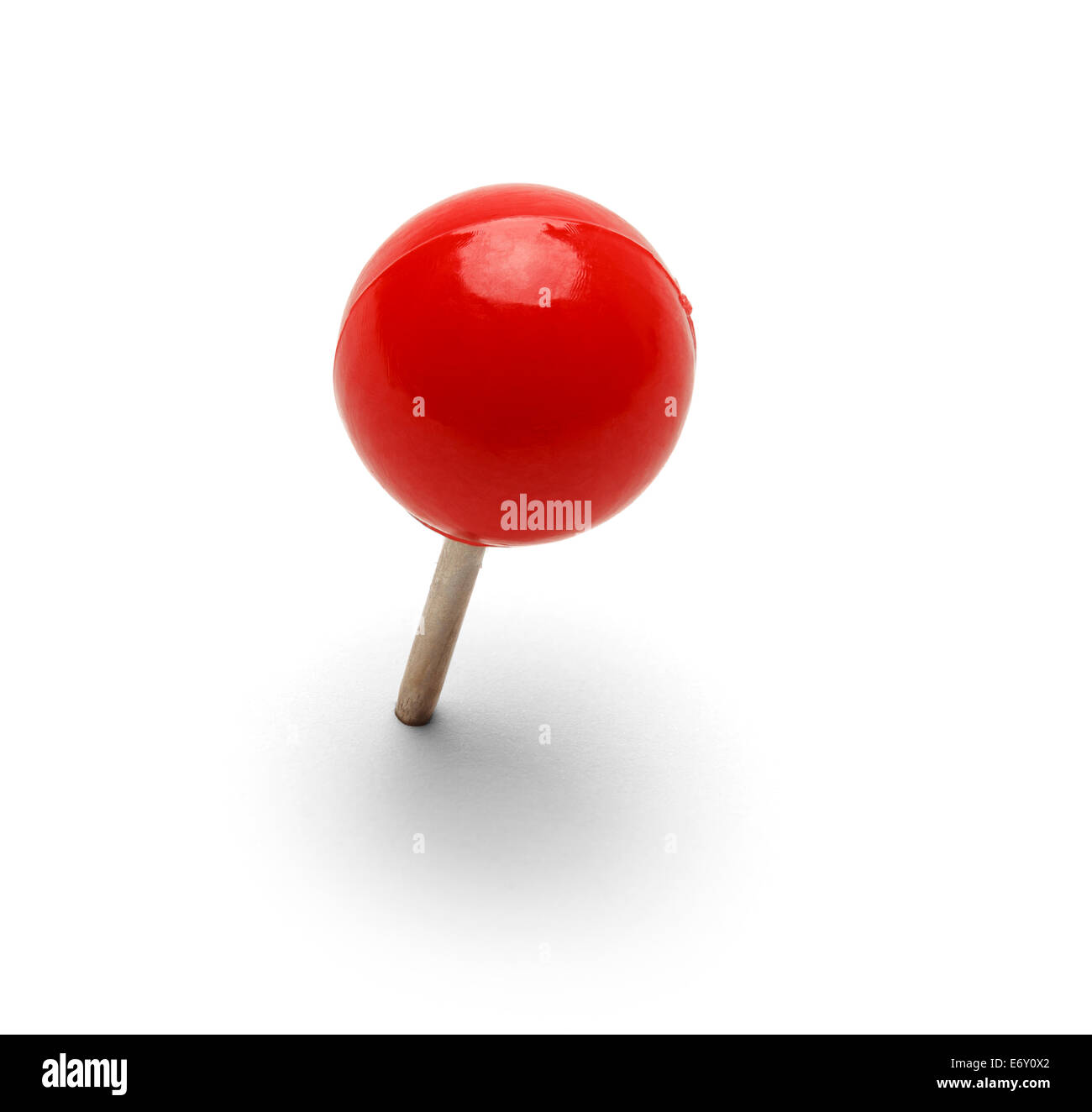Round Red Thumb Tack Push pin Isolated On White Background. - Stock Image