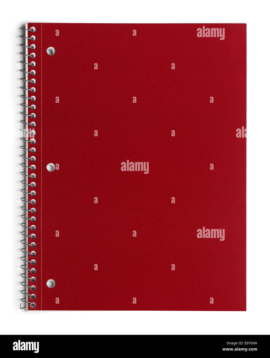 Red School Line Paper Spiral Notebook Isolated on White Background. Stock Photo