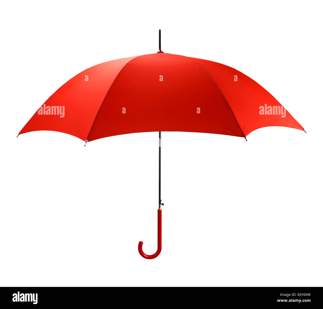 Bright Red Umbrella Side  View Isolated on White Background. - Stock Image