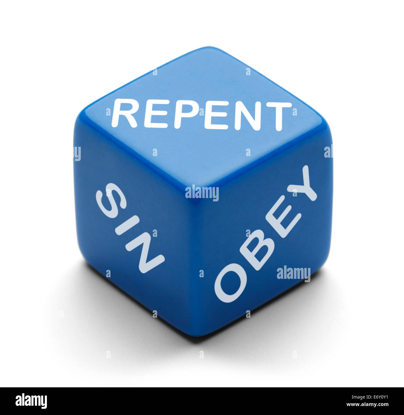Blue Dice with Repent Sin and Obey on it Isolated on a White Background. - Stock Image