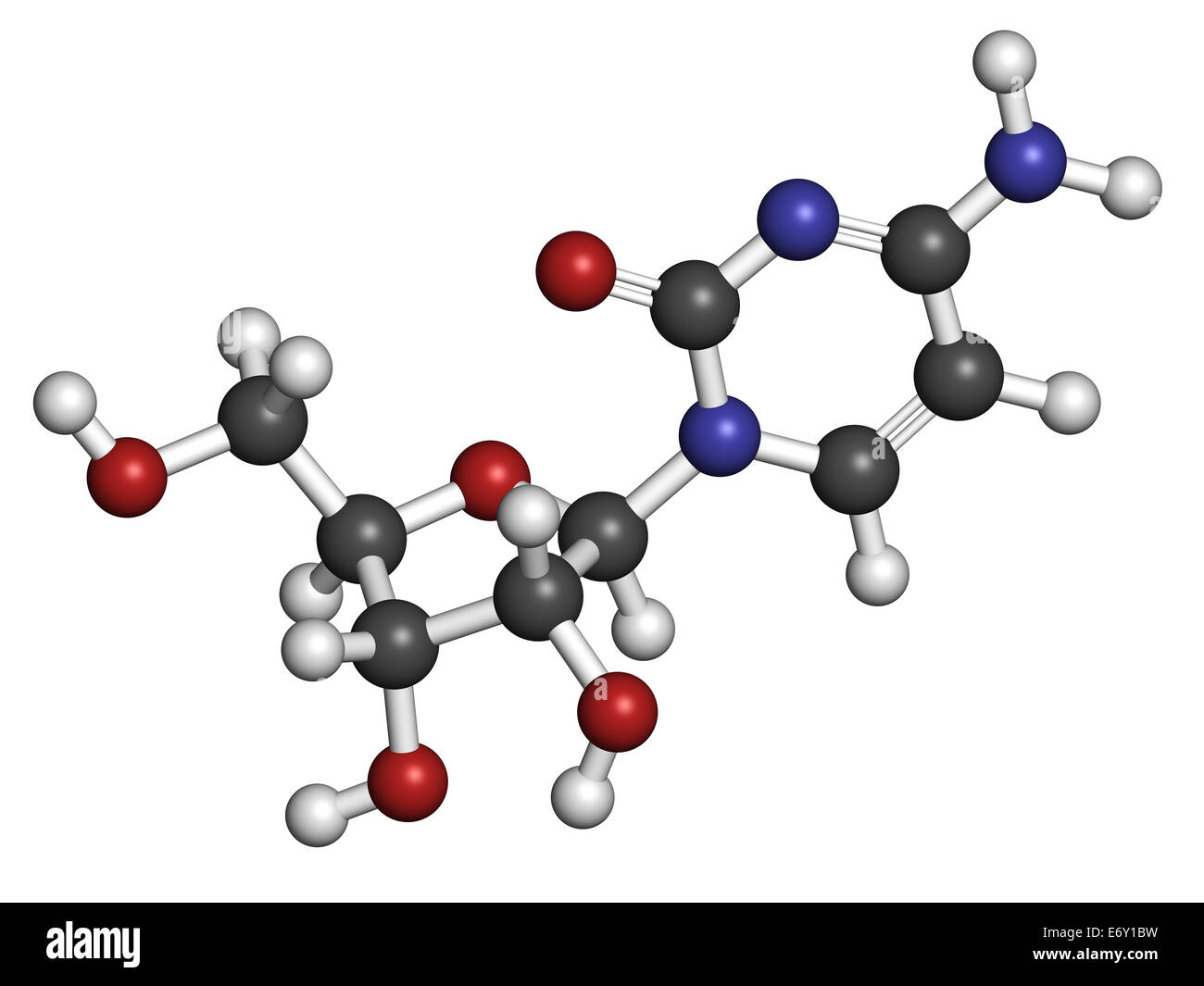 Cytidine RNA building block molecule. Atoms are represented as spheres with conventional color coding: hydrogen Stock Photo