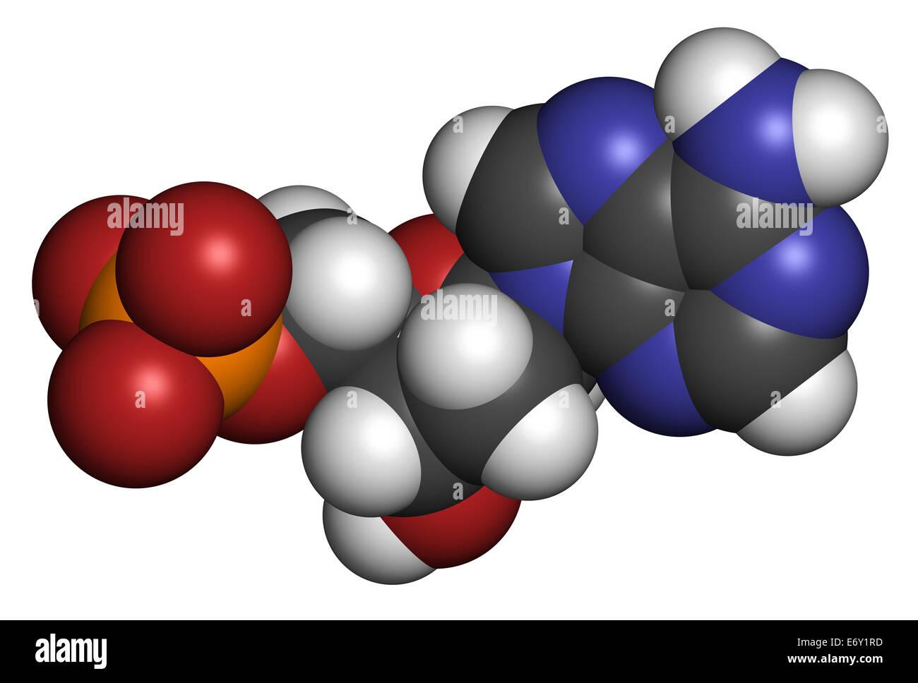 Deoxyadenosine monophosphate (dAMP) nucleotide molecule. DNA building block. Atoms are represented as spheres with - Stock Image