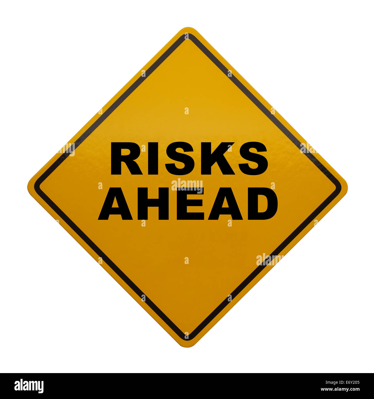 Caution Sign that read Risks Ahead Isolated on White Background. Stock Photo