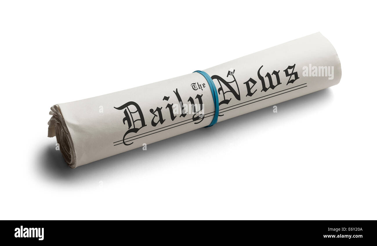 Rolled Up Newspaper with Rubber Band of the Daily News. Isolated on a White Background. - Stock Image