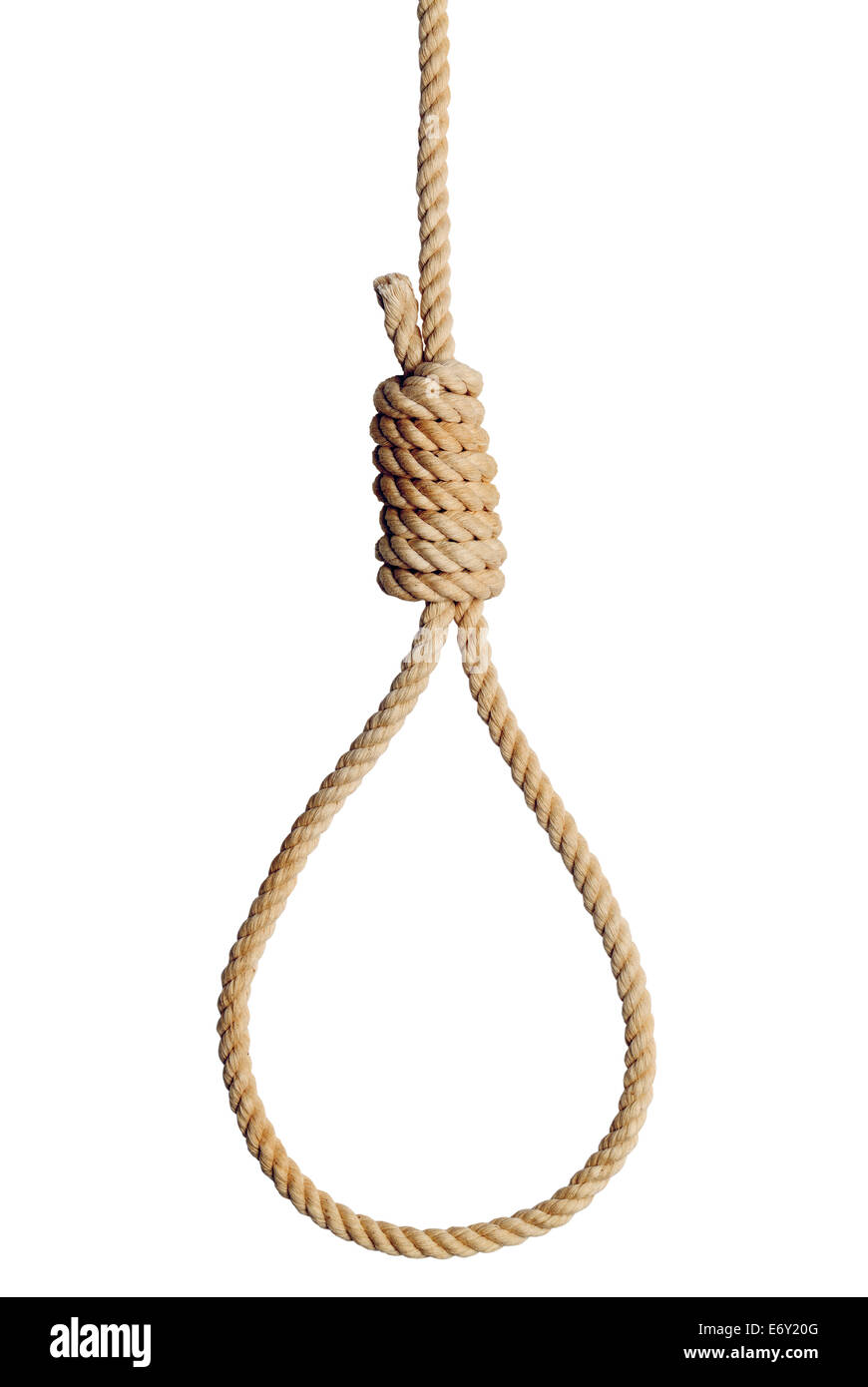 Old West Hang Mans Noose Isolated on White Background. - Stock Image