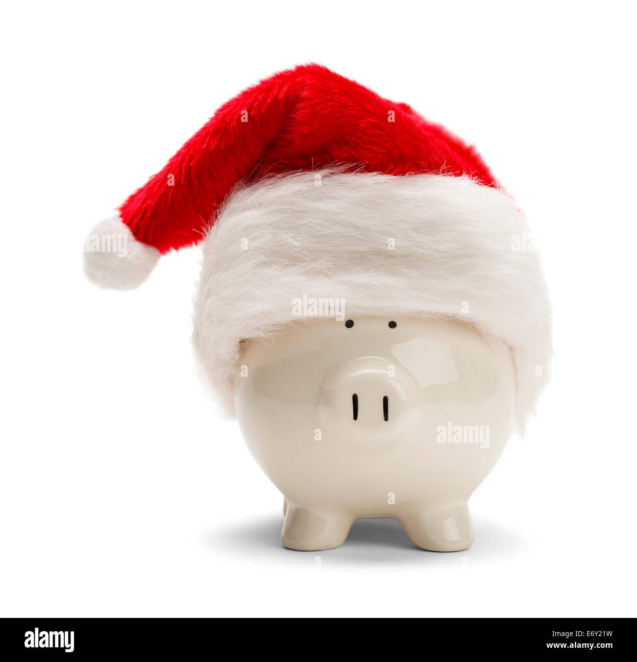 Piggy Bank With Red Santa Hat Isolated on White Background. - Stock Image