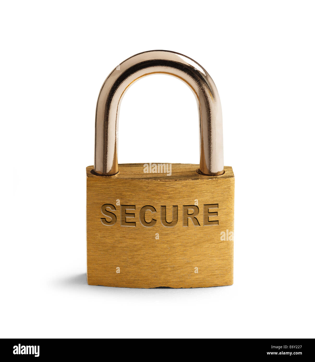 Brass Security Padlock Closed and Isolated on White Background. - Stock Image