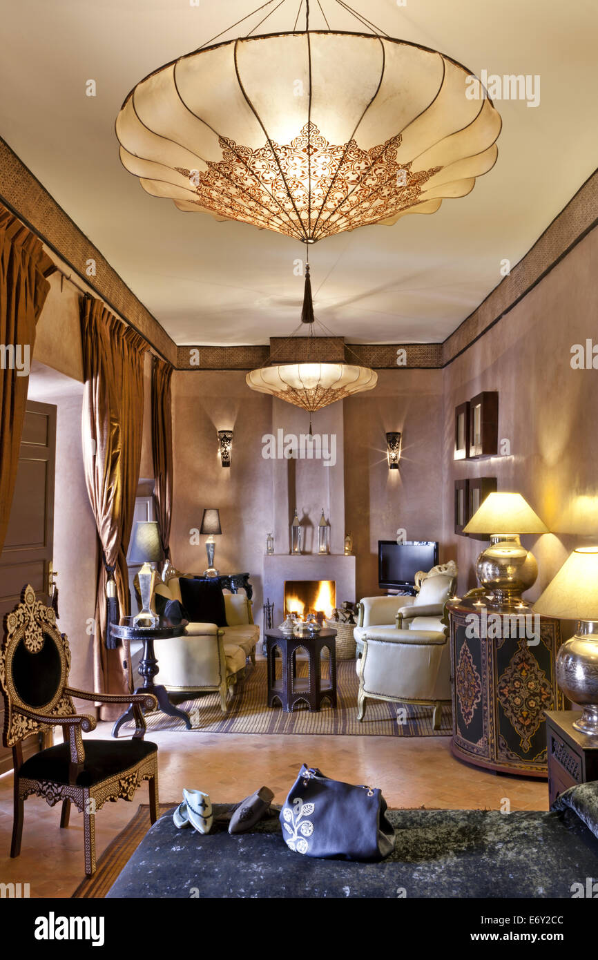 Panther room, Riad Noir D'Ivoire, Marrakech, Morocco - Stock Image