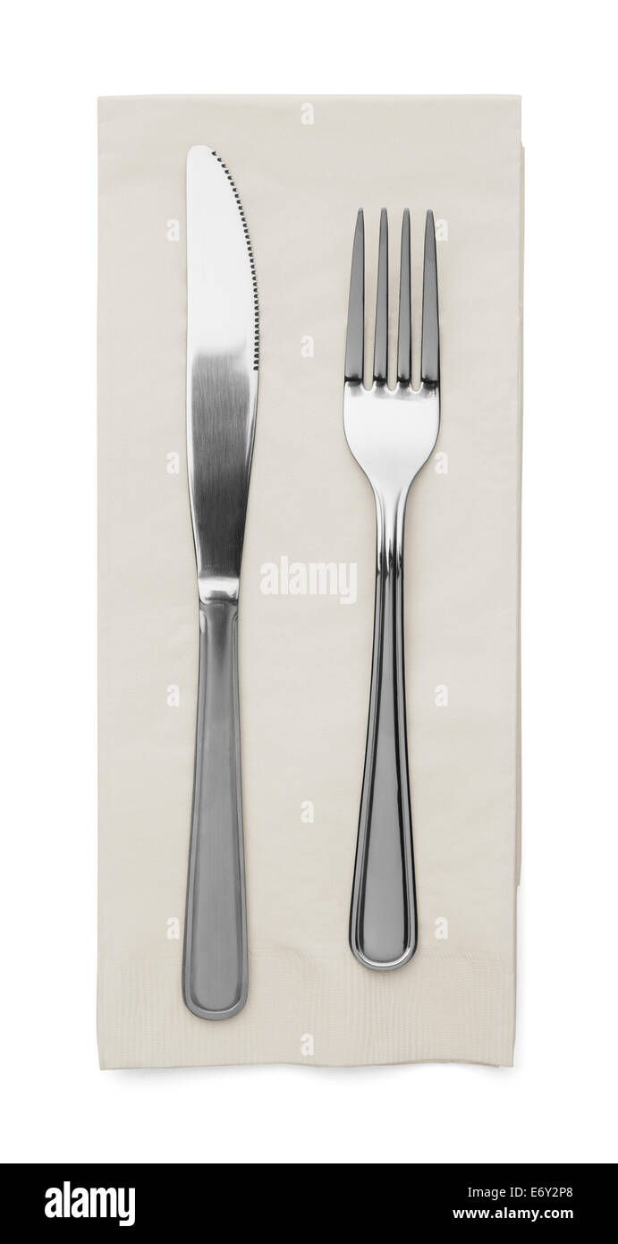 Butter Knife and Fork With Napkin Isolated on White Background. - Stock Image