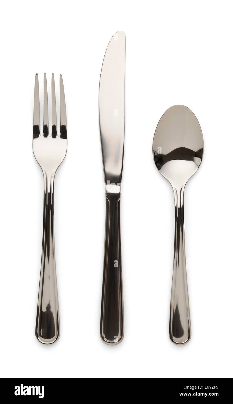 Table Ware Knife Fork and Spoon Isolated on White Background. - Stock Image