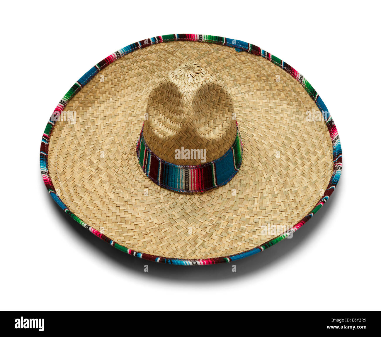 Mexican Fiesta Straw Hat Isolated on White Background. Stock Photo