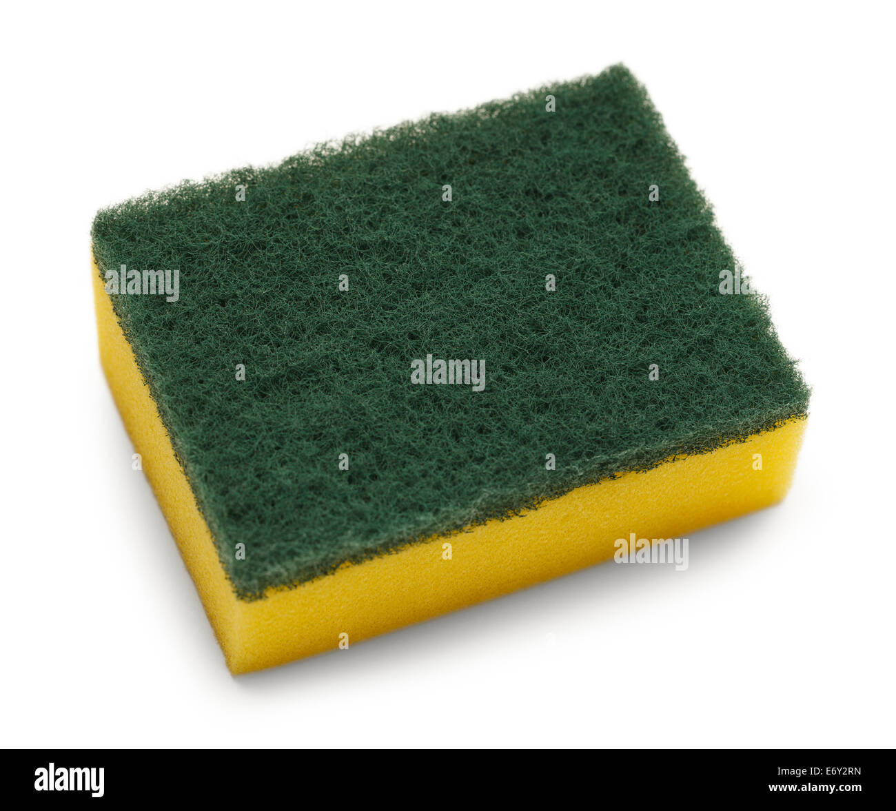 Yellow with Green Top Scrubbing Pad Isolated on White Background. - Stock Image