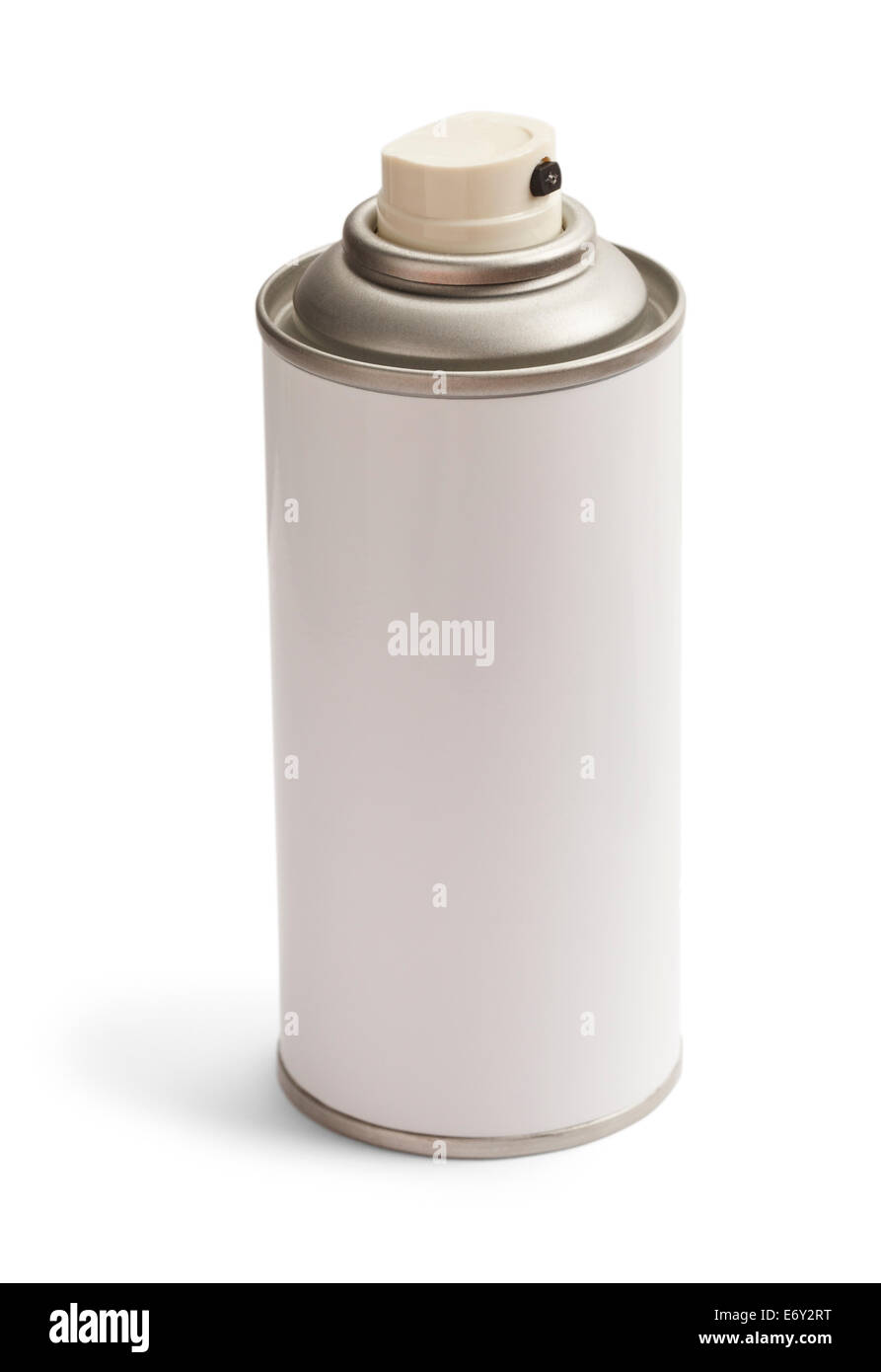 Blank Generic White Spray Can Isolated on White Background. Stock Photo