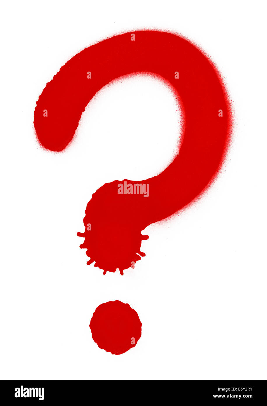 Red Question Mark Isolated on White Background. - Stock Image