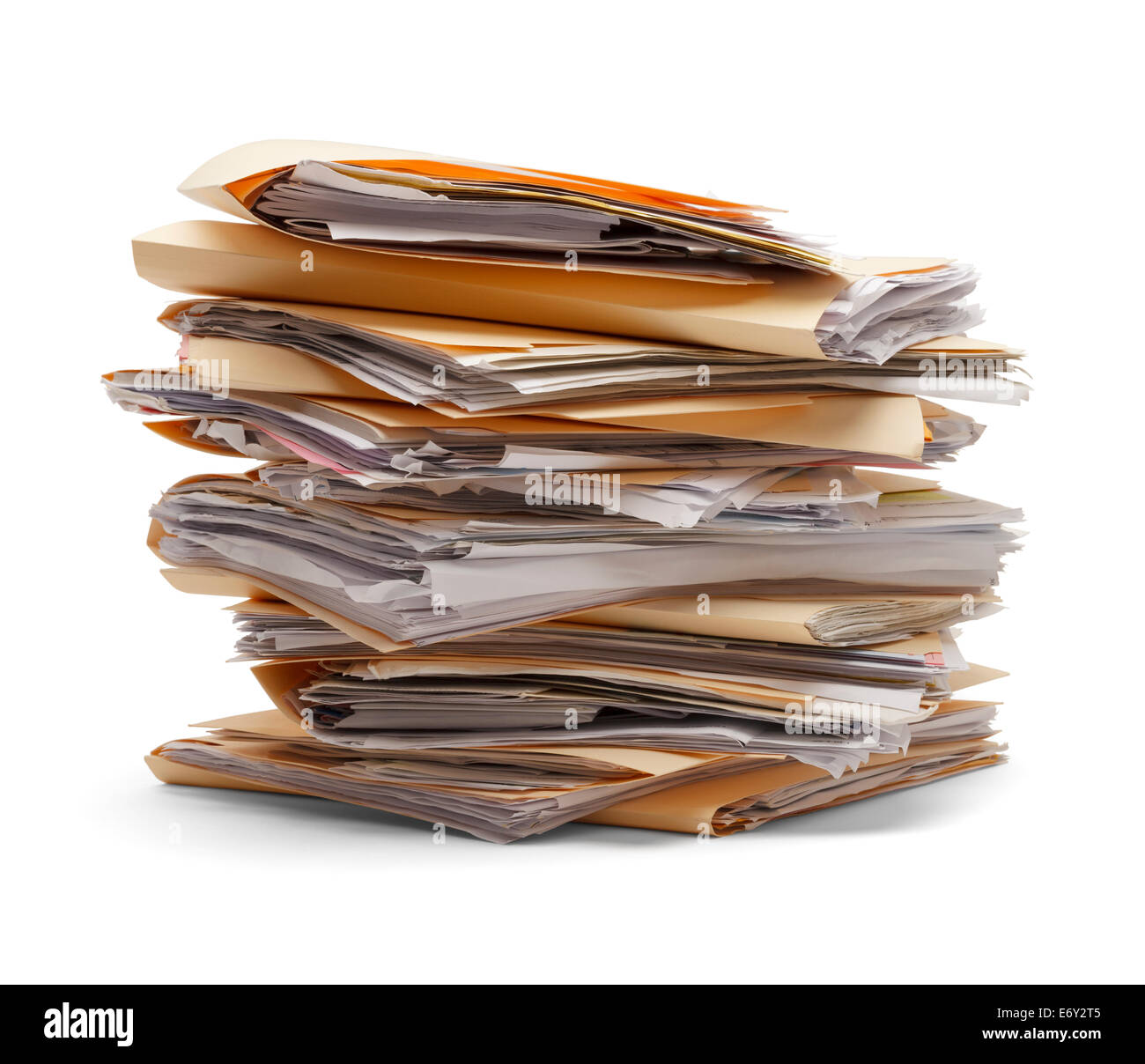 Files stacking up in a messy order isolated on white background. - Stock Image