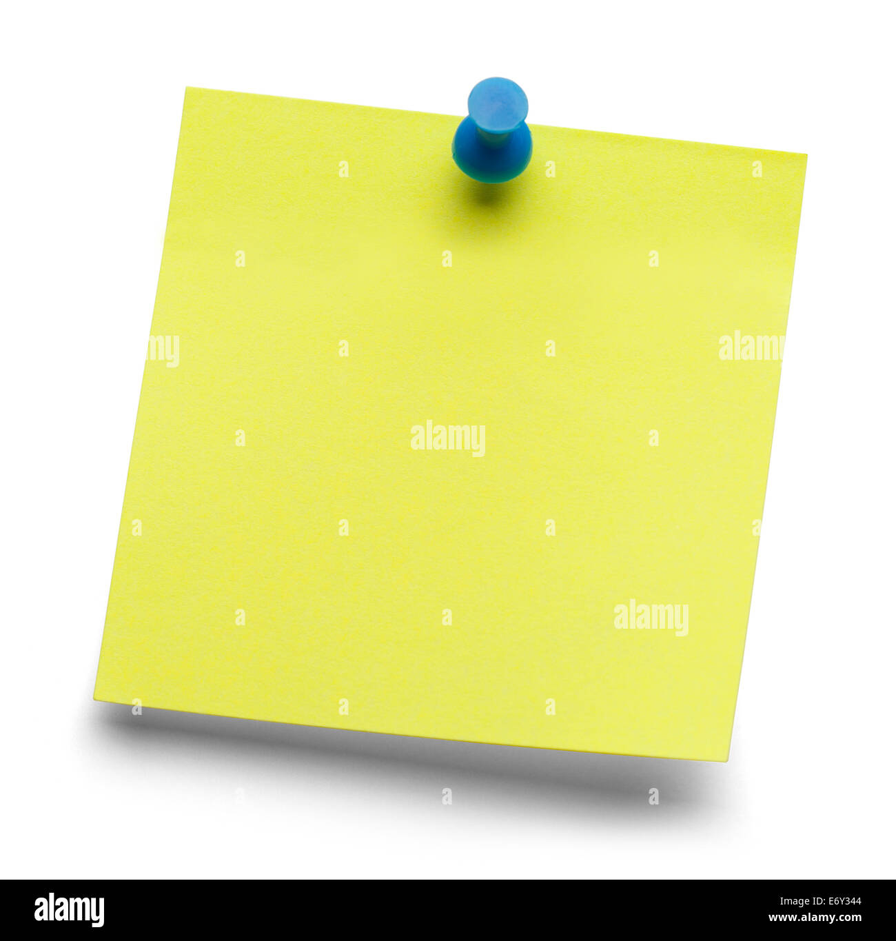 Blank yellow sticky message isolated on a white background. - Stock Image