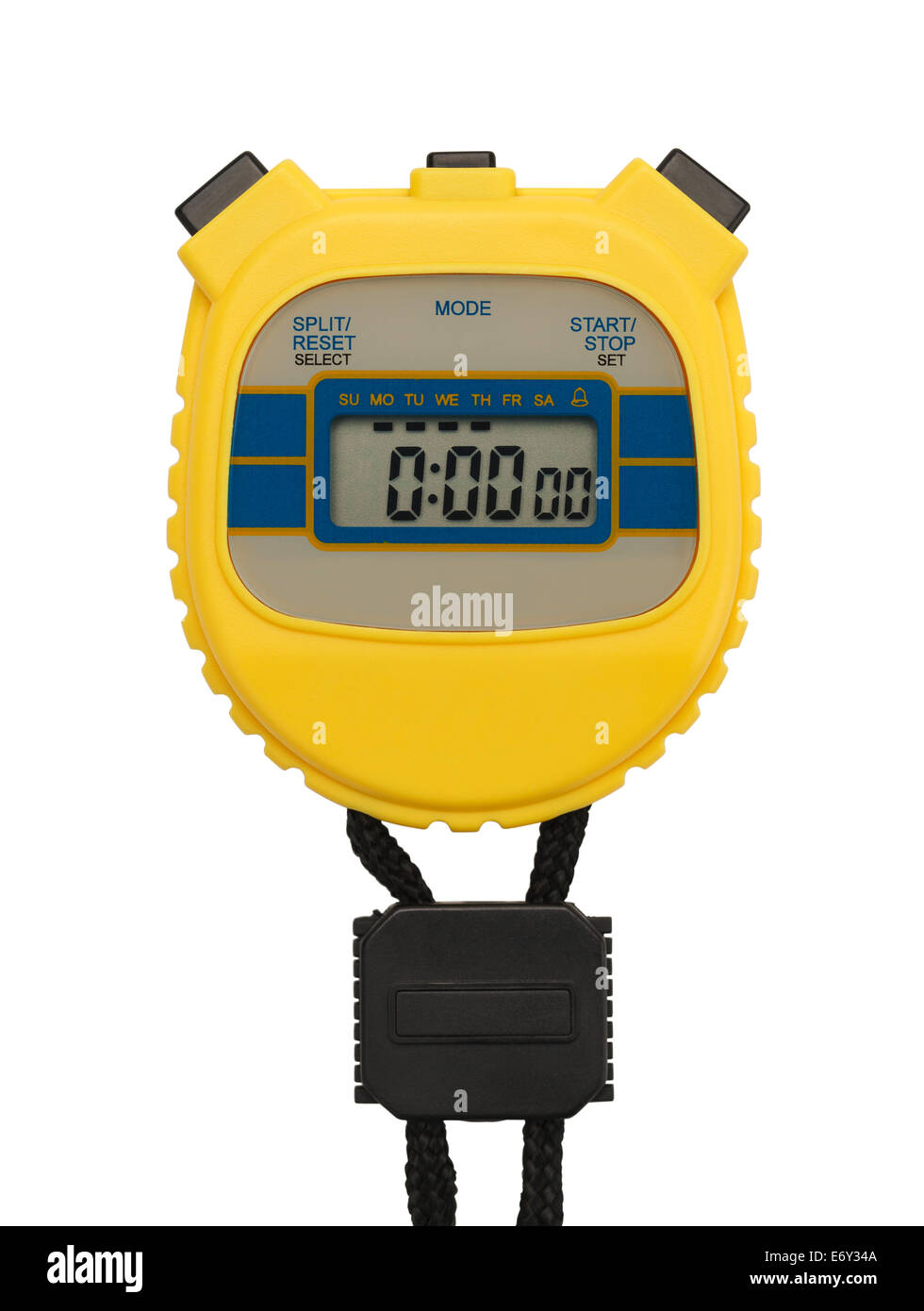 Yellow Plastic Stopwatch with Copy space Isolated on White Background. - Stock Image