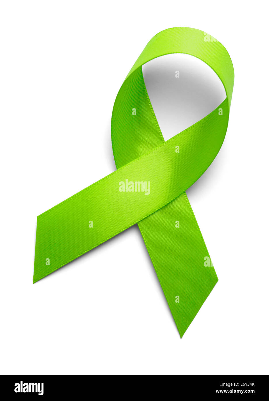 Green Ribbon Isolated On White Background. - Stock Image