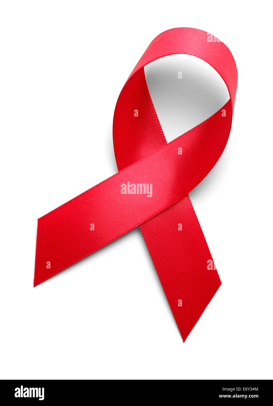 Red Ribbon Isolated on White Background. - Stock Image