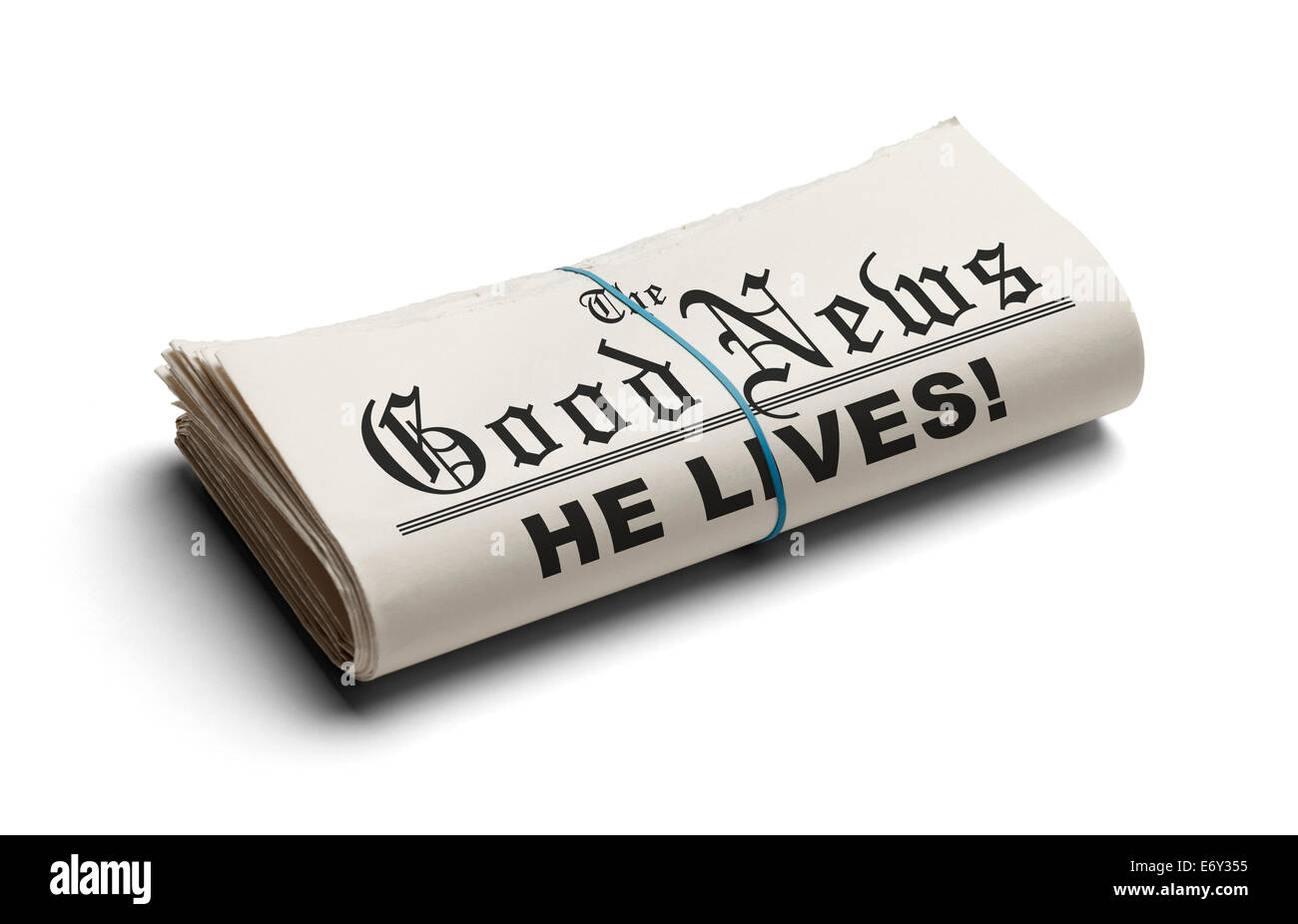 Newspaper With The Good News and the Headline He Lives printed on it Isolated On White Background. - Stock Image
