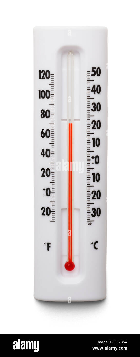 Weather Thermometer Isolated on White Background. - Stock Image