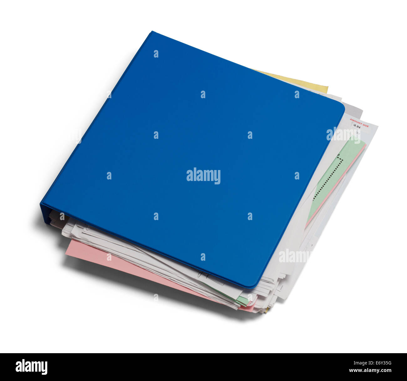 Blue Binder with Messy Papers Isolated on White Background. - Stock Image