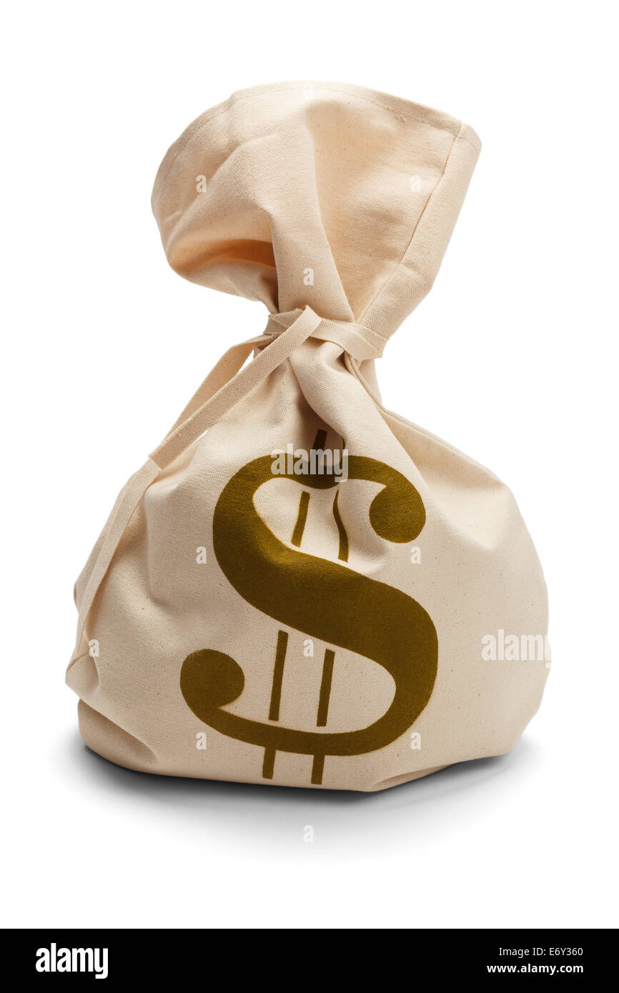 Bank Sack of money tied up isolated on a white background. - Stock Image