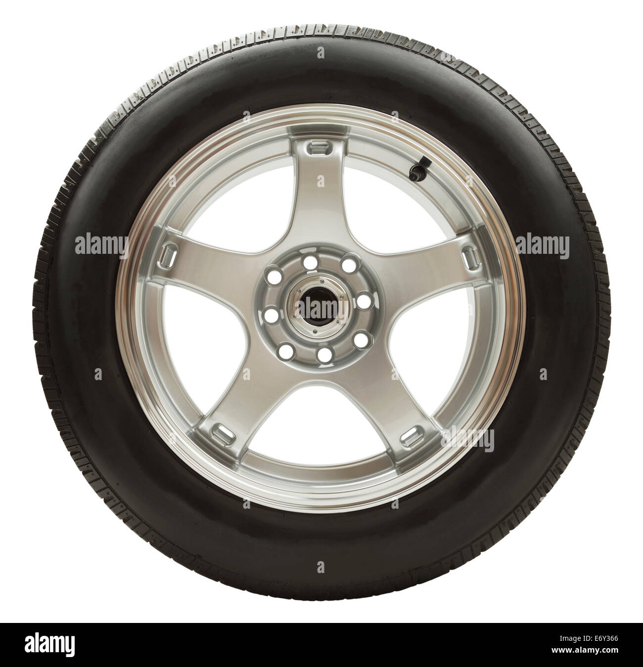 Rubber Car Wheel with Chrome Rim Isolated on White Background. - Stock Image