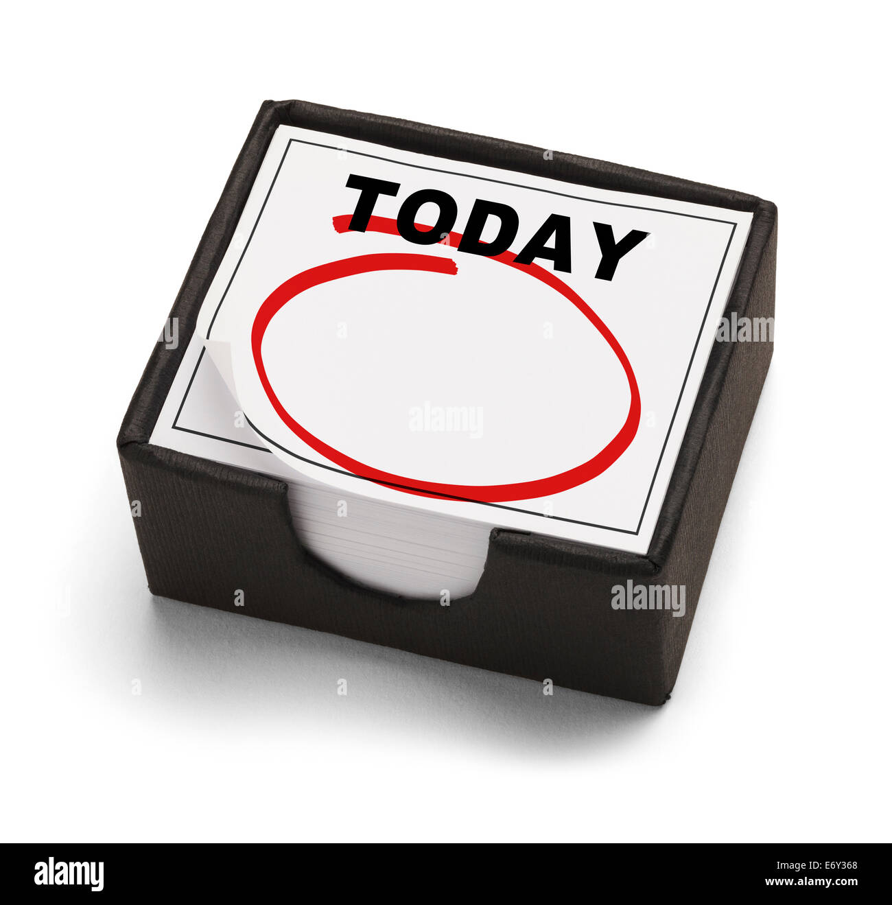Box Calendar with Today on it and a Red Empty Circle Isolated on White Background. - Stock Image