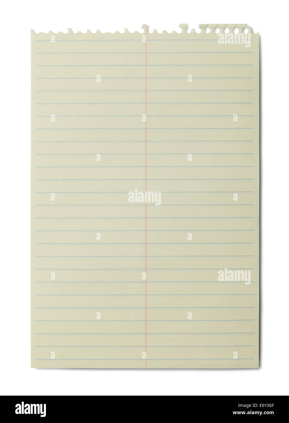 Yellow Line Spiral Notebook Paper Isolated On White Background Stock