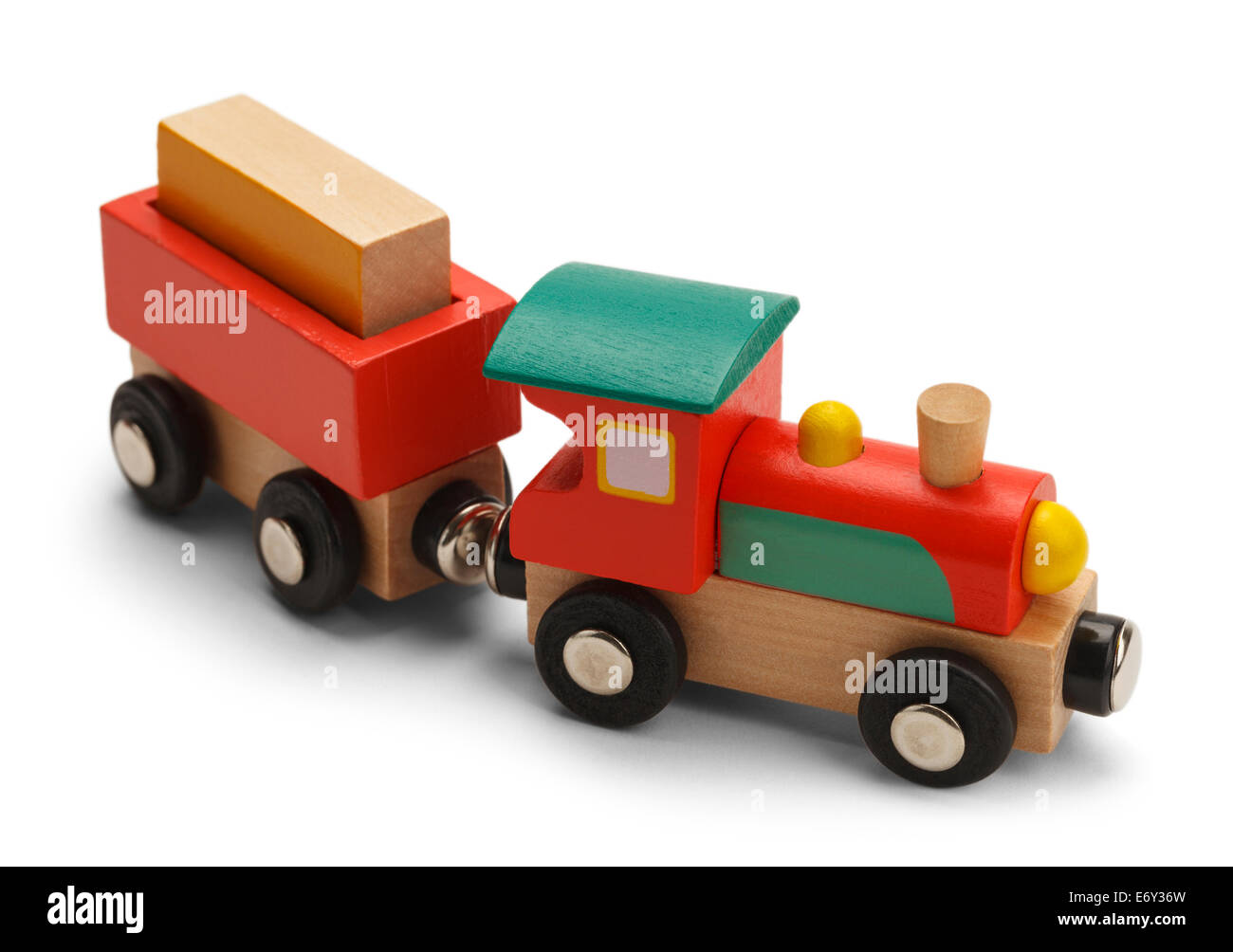 Wood Toy Train Isolated on White Background. - Stock Image