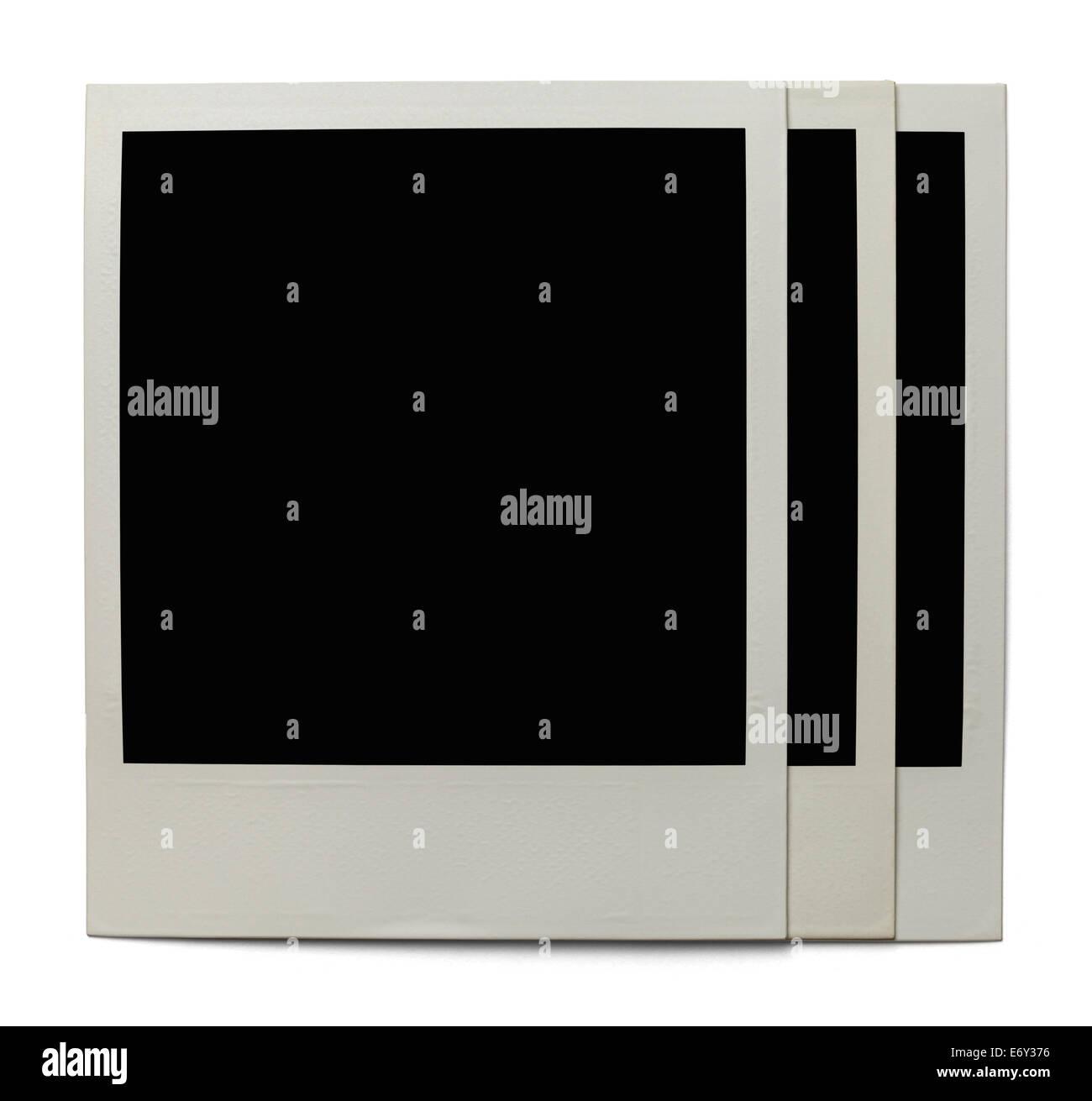 Three Polaroid Photos Isolated on White Background. - Stock Image