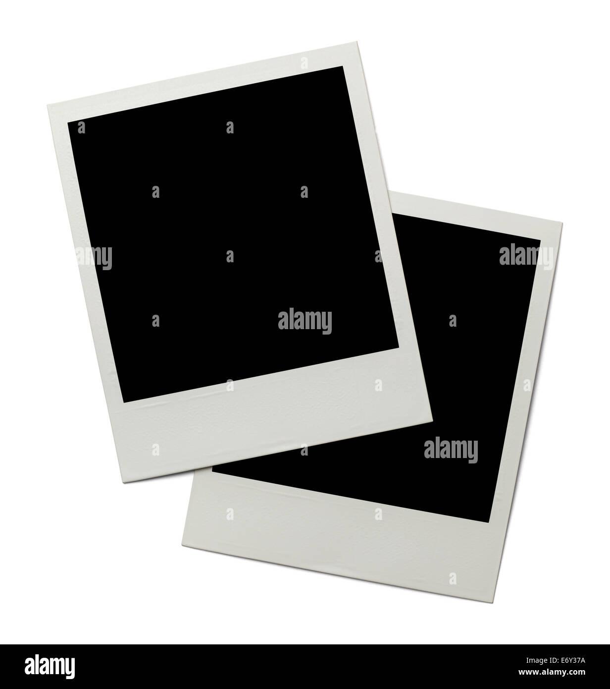 Two Retro Polaroid Photographs Isolated on White Background. - Stock Image