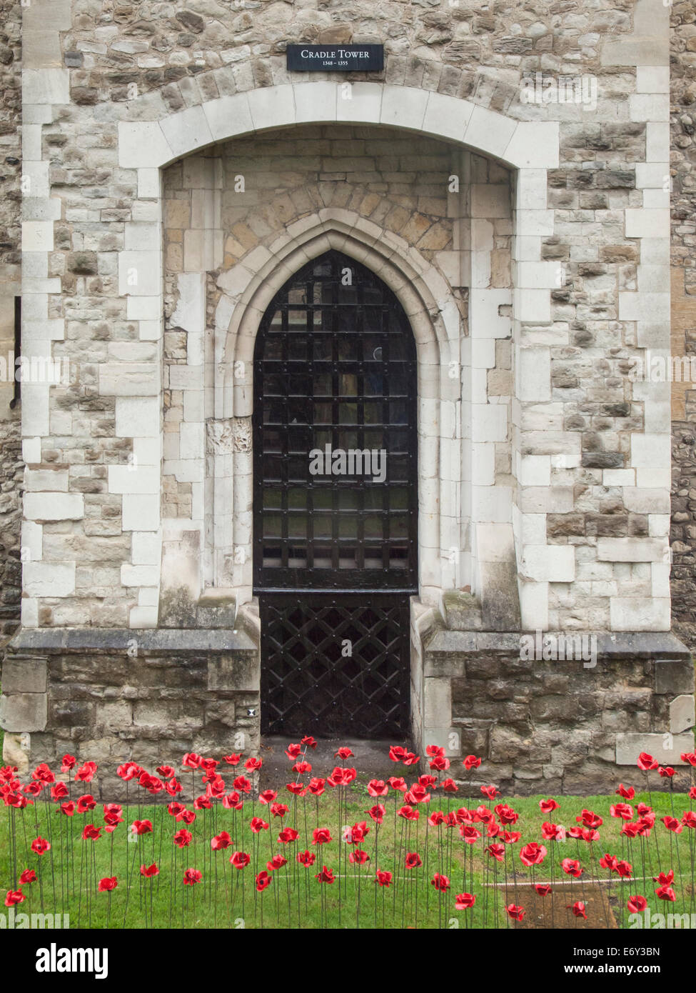 detail of the ceramic poppies exhibit  at the tower of london during heavy rain with the cradle tower  behind . Stock Photo